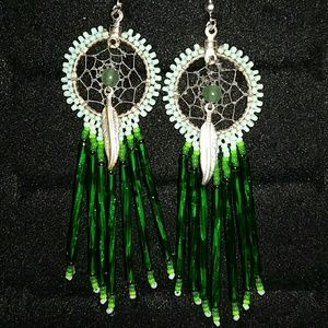 Green dreamcatcher earrings